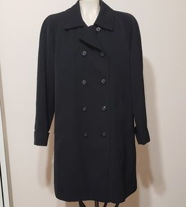 Black lined double breasted trench coat,  M